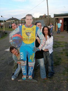 June 17th – A giant cut-out Andreas Bergstrom with admirers Sarah, Keith, Amy & Heather