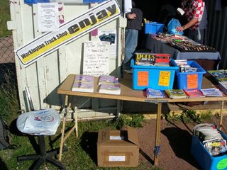 Book display outside the Workington track shop